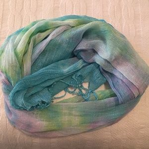 Accessories - turquoise pink green gauzy scarf w/fringe